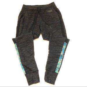 VS PINK tropical pattern gray joggers